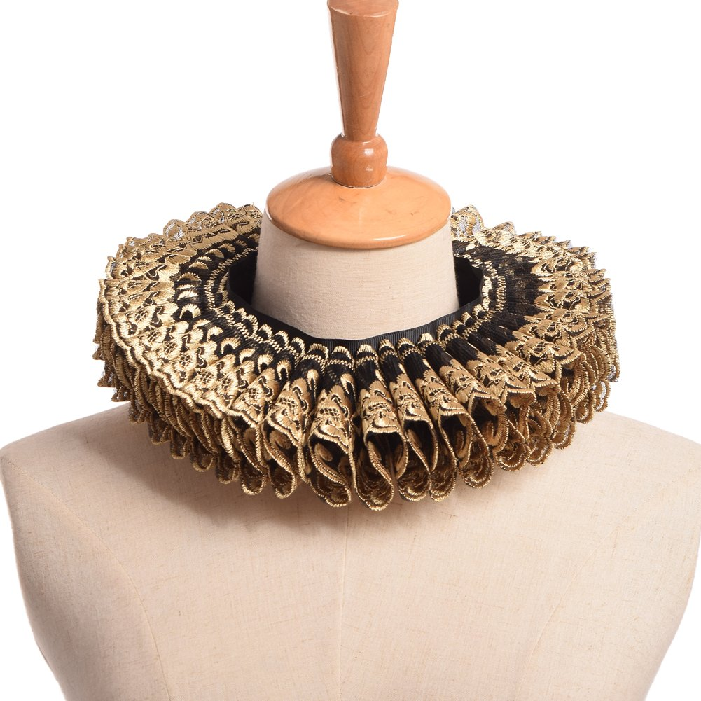 BLESSUME Renaissance Elizabethan Neck Ruff Collar Ruffled Collar Cosplay Gift (Golden)