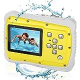 Bybrutek Fotocamera per Bambini, Videocamera 12MP HD Subacquea per Bambini con un'impeamebilità da 3M, LCD da 2 Pollici, Zoom Digitale 4x, Fotocamera Digitale CMOS da 5 MP (Giallo)