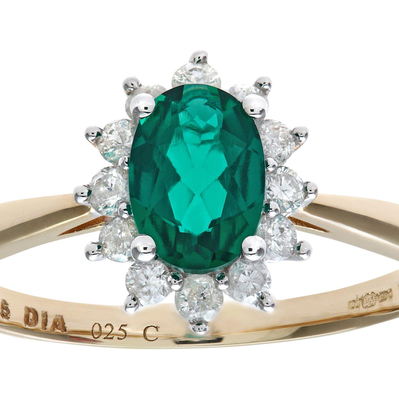 Naava Round Brilliant 0 25ct Emerald and Diamond 9ct Gold Oval