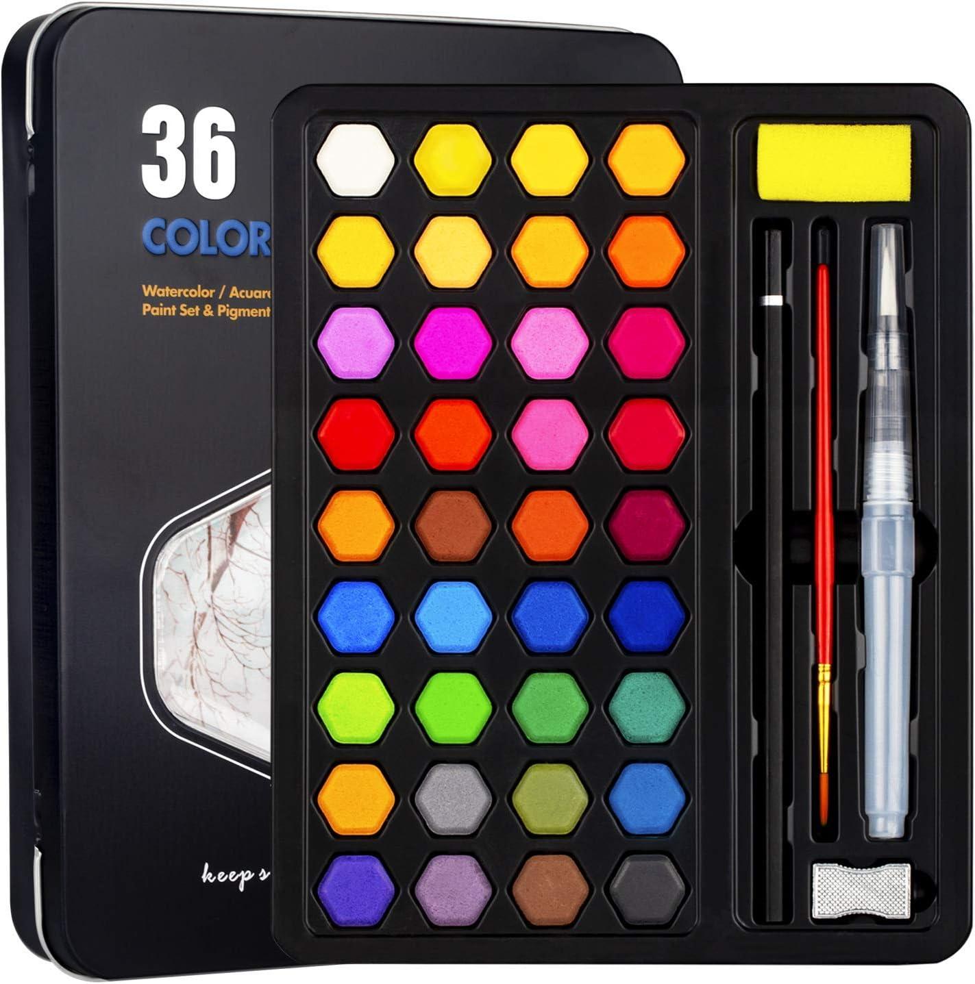 Xpassion Caja de Acuarelas, Set de Pintura de Acuarelas 36 Colores Metal Estuche Pigmento Sólido Acuarela Conjunto, Juego de Pintura de Acuarela para Niños,Principiantes,Regalo de navidad,Cumpleaños