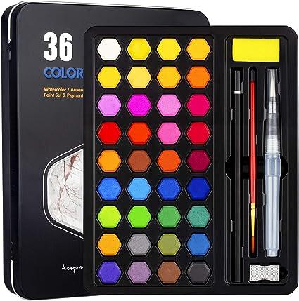 Xpassion Caja de Acuarelas, Set de Pintura de Acuarelas 36 Colores Metal Estuche Pigmento Sólido Acuarela Conjunto, Juego de Pintura de Acuarela para Niños,Principiantes,Regalo de navidad,Cumpleaños: Amazon.es: Belleza