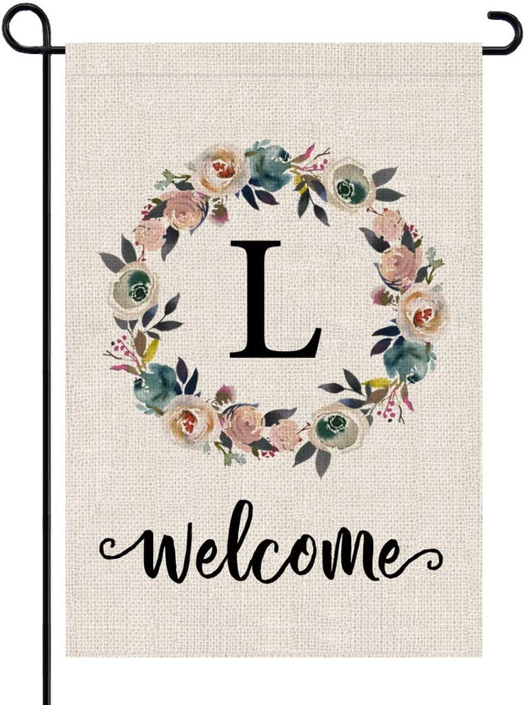 PARTY BUZZ Monogram Wreath Letter L Burlap Garden Flag Floral Initial, Double Sided, 12.5 x 18 Inch, Small Mini Outdoor Yard Flag