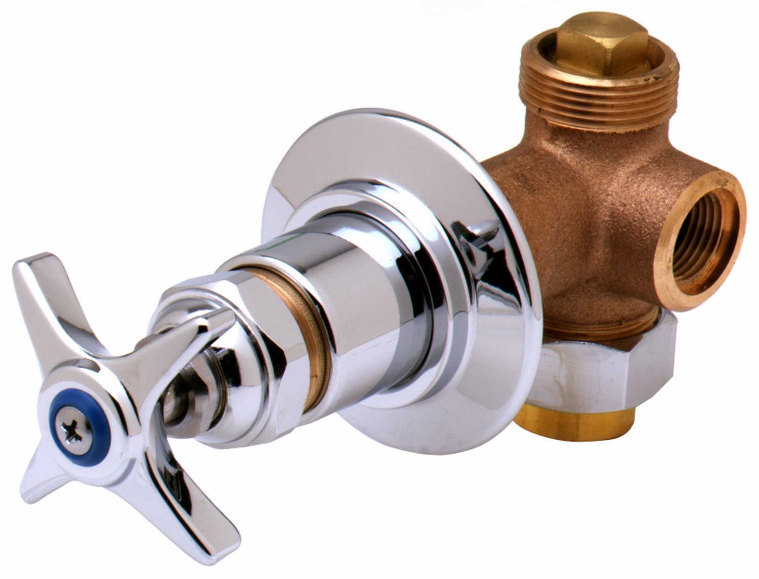 T&S Brass B-1020 Concealed Bypass Valve, 1/2-Inch Npt Female Inlet and Outlet, 4-Arm Handle, Cold Index