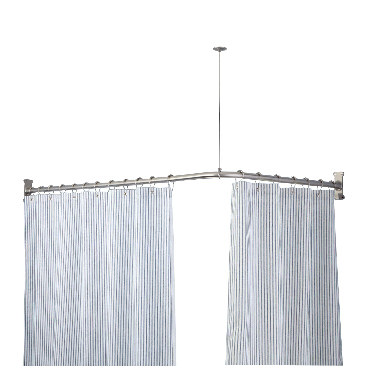 Naiture 36'' L x 36'' W Never Rust Brass Corner and L-Shaped Shower Curtain Rod in Brushed Nickel Finish by Naiture (Image #3)