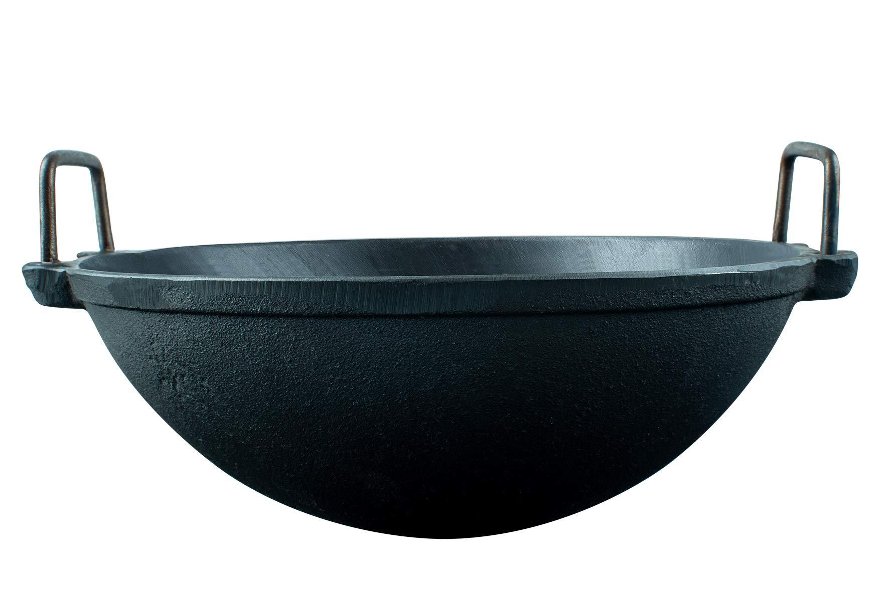 Mr. Butler Cast Iron Cookware – Kadai/Wok, Pre- Seasoned 11 Inch, Black