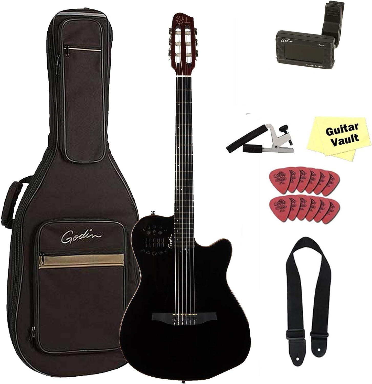 Godin ACS Slim cedro negro Pearl, 032181, bolsa de nylon para guitarra cuerdas a/E con funda y set de accesorios