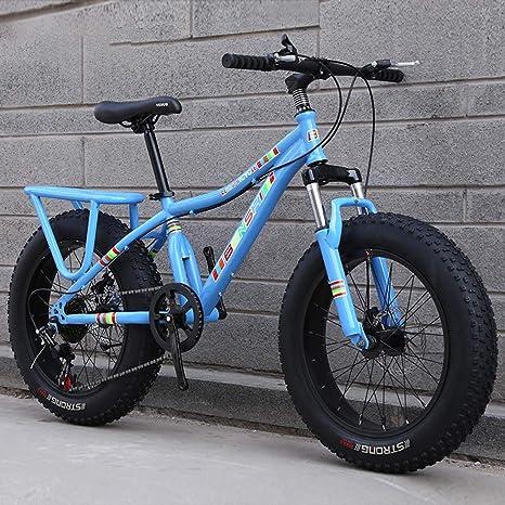AISHFP Niño Fat Tire Bicicletas de montaña, la Playa de Moto de Nieve, de Peso Ligero de Alta de Acero al Carbono Bastidor de la Bicicleta, de 20 Pulgadas Ruedas,Azul,21 Speed: Amazon.es: