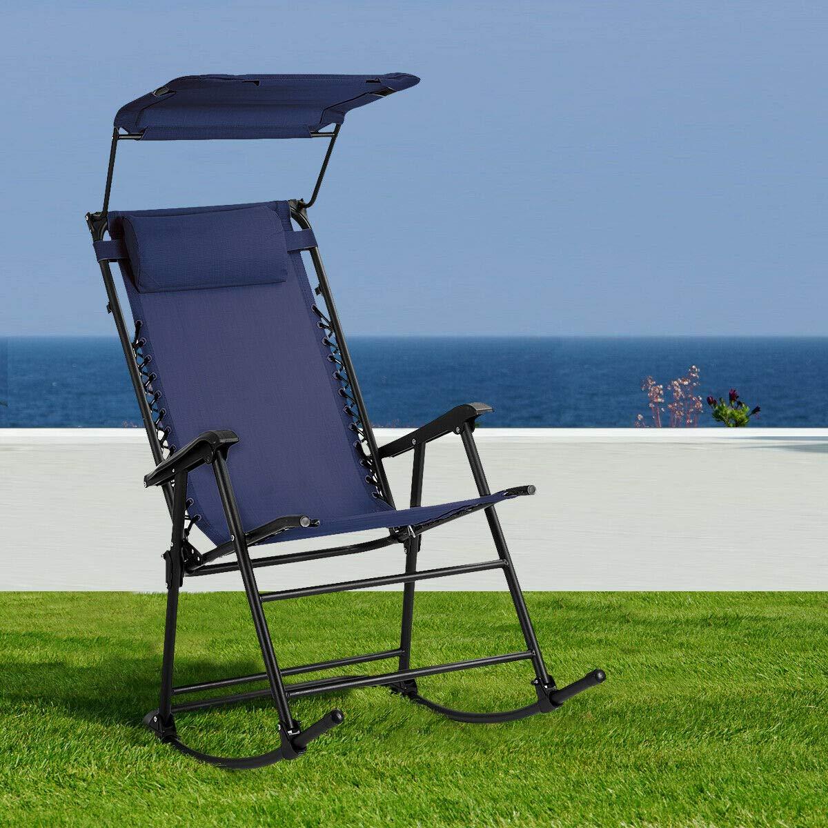 Amazon.com: Heize – Silla de balancín plegable, color azul ...