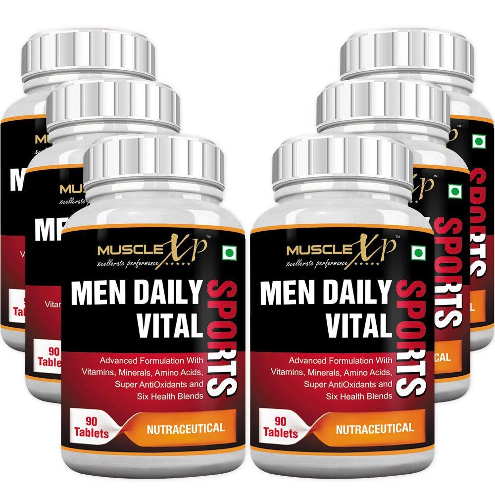 MuscleXP MultiVitamin Men Daily Sports with 49 Nutrients (6 Health Blends & Amino Acids) 90 Tablets (Pack Of 6)