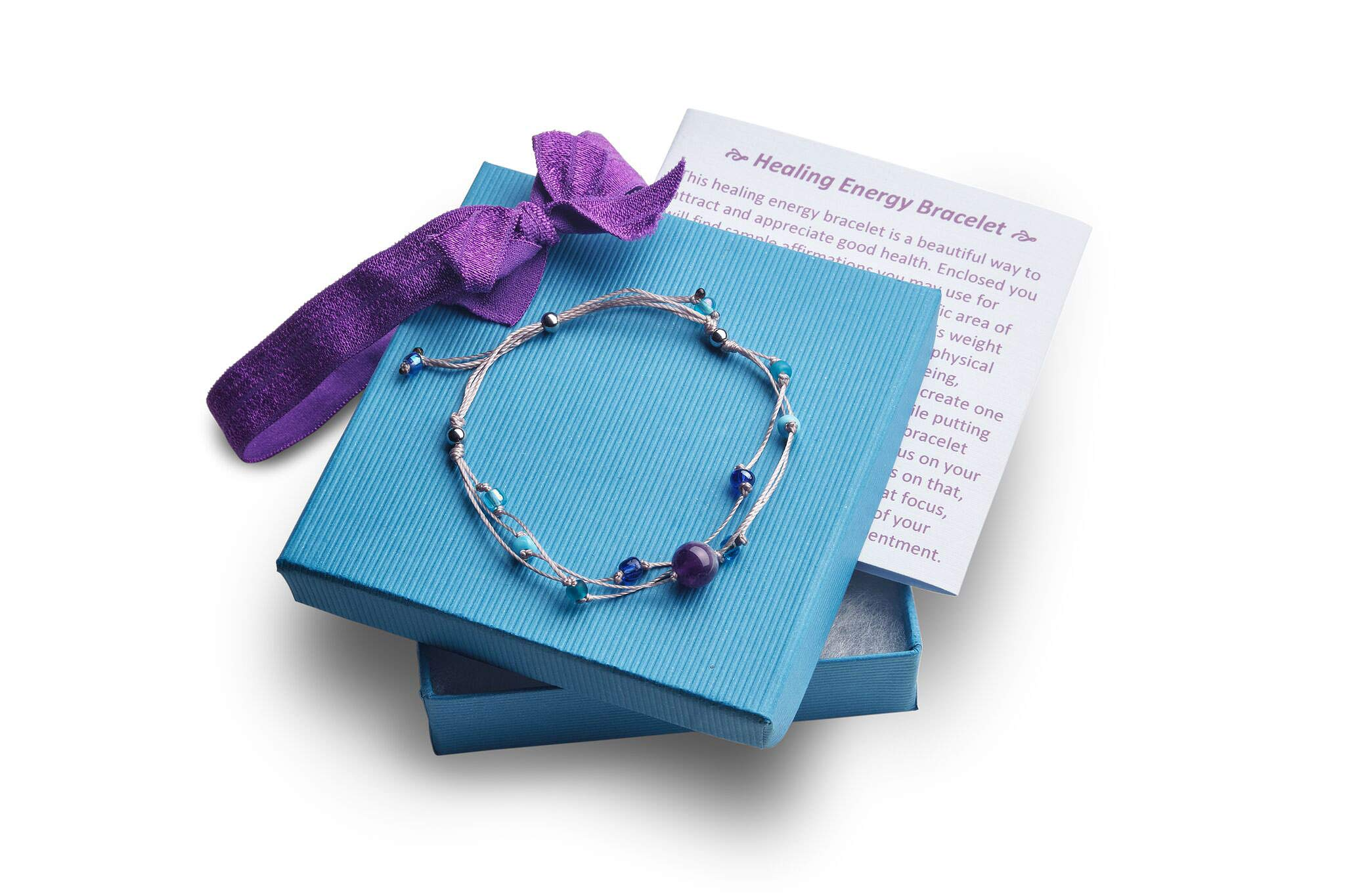 Healing Energy Bracelet | with a Heart Warming Inspirational Card Presented in a Gorgeous Gift Box | The Perfect Caring Gift Handmade by BlankieGram (Grey) by BLANKIEGRAM.COM