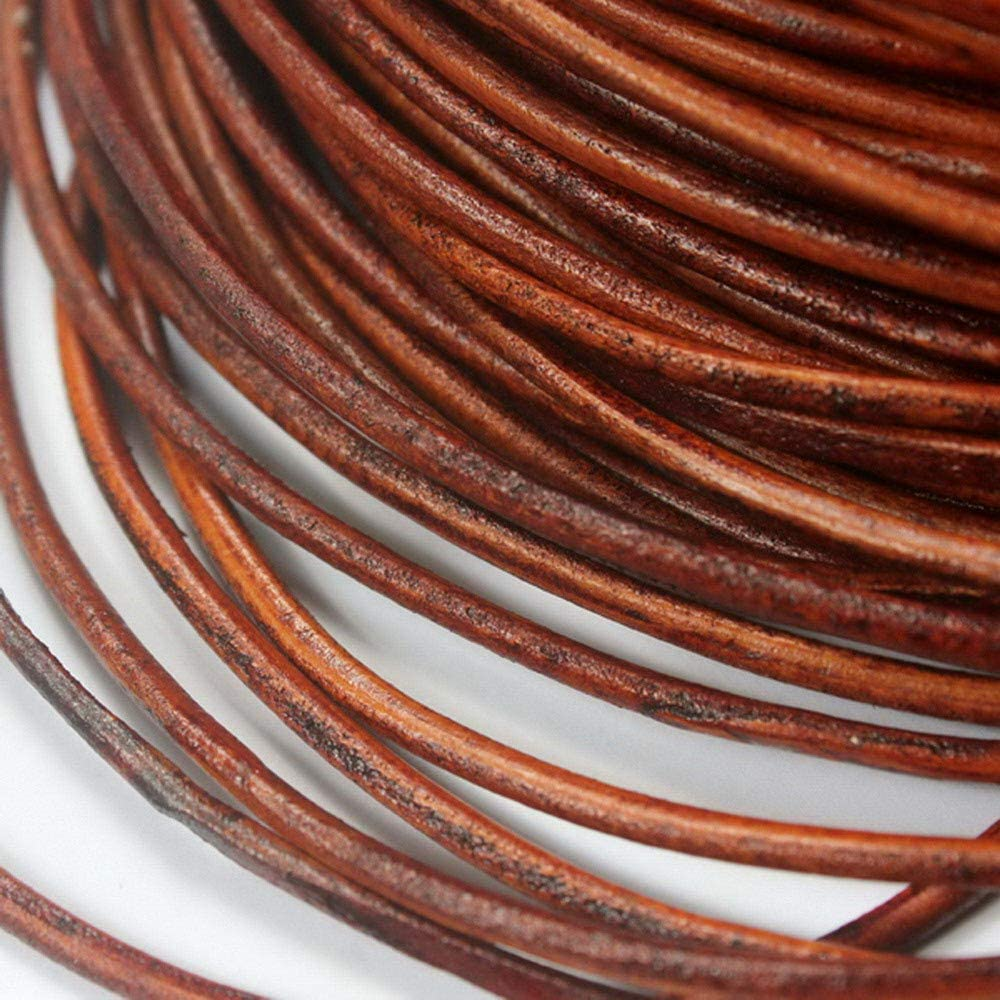 Round Leather Cord Genuine Leather Straps 2mm Distressed Brown