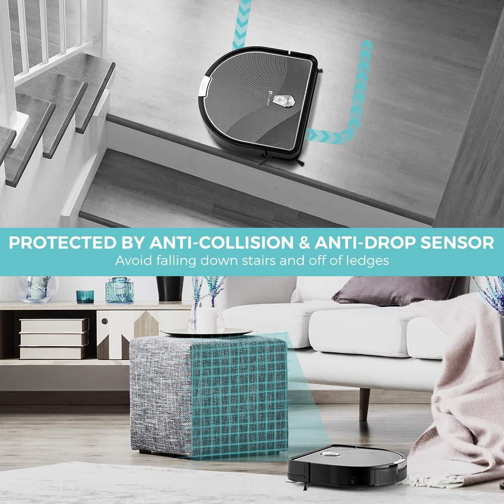 Robot Aspirador, Houzetek Aspirador Robótico Wifi Automático, Robot Limpiador de Suelo Mojado y Seco, Duro o Alfombrilla Inalámbrico Vacuum Robot Cleaner, ...