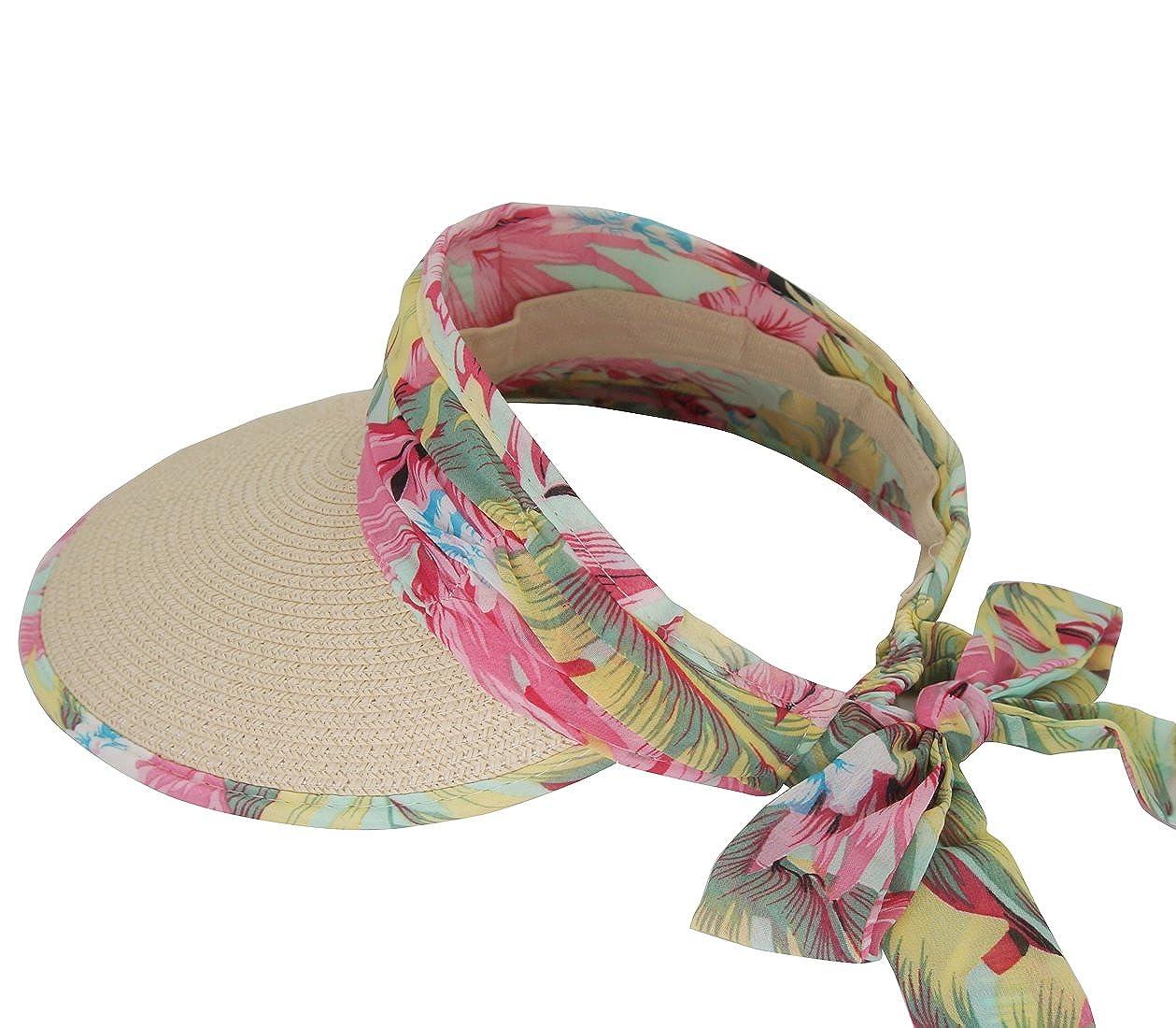 Roffatide Women Floral Print Straw Visor Wide Brim Sun Hat with Bowknot Elegant RT7008-1