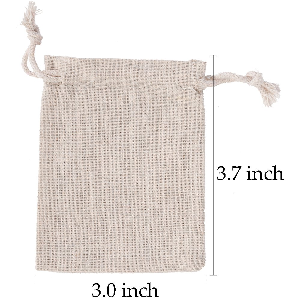 50pcs Small Cotton Double Drawstring Bags Reusable Muslin Cloth Gift Candy Favor Bag Jewelry Pouches for Wedding DIY Craft Soaps Herbs Tea Spice Bean Sachets Christmas, 3x4 inch by handrong (Image #6)