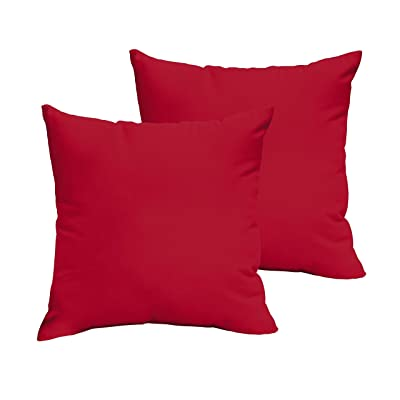 Humble and Haute Westby Crimson Indoor/Outdoor Square Knife Edge Pillow Set 18 in : Garden & Outdoor