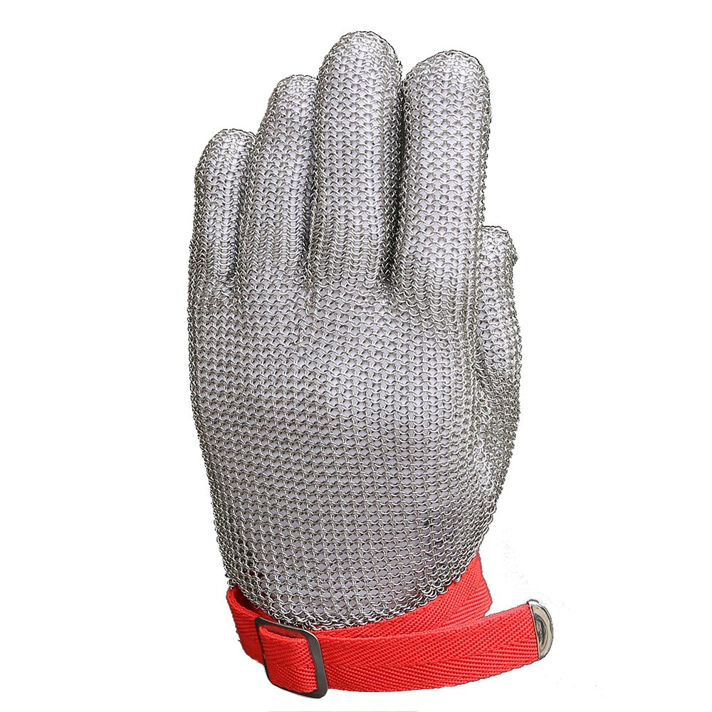 Anself Cut Resistant Glove Stainless Steel Mesh Knife Cut Resistant Protective Glove (Small)
