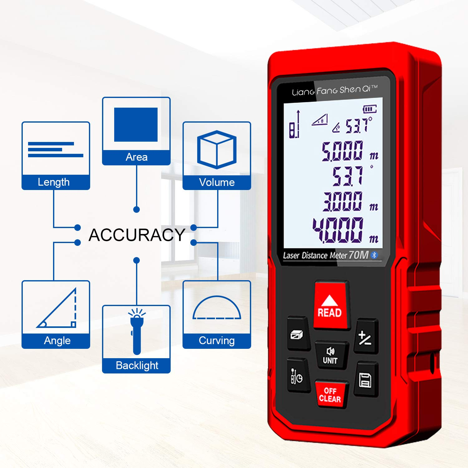 Backlit Display Ultimate Liangfangshenqi Laser Measure Bluetooth Laser Distance Meter Kc B70 Laser Measuring Device With Floor Plan App For Android Ios Red 230ft 70m Measuring Layout Tools Linear Measurement Digimax Dental