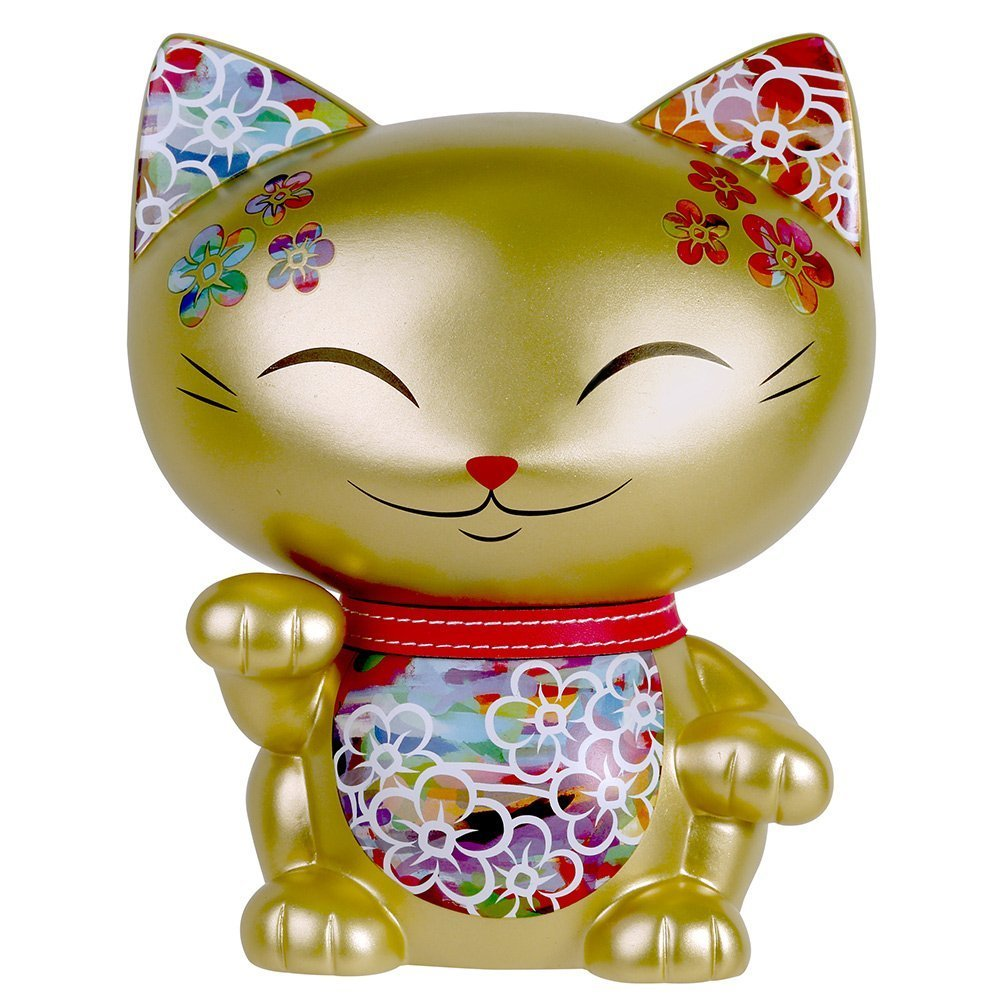 Large Mani the Lucky Cat Maneki Neko Coin Bank Gold by Happy Sales