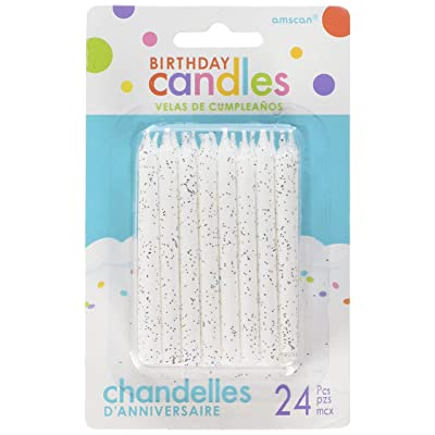 "Amscan 170433 Large 3.25"" White Spiral Candle Sets (24ct) Party Supplies, 3 1/4"": Toys & Games"