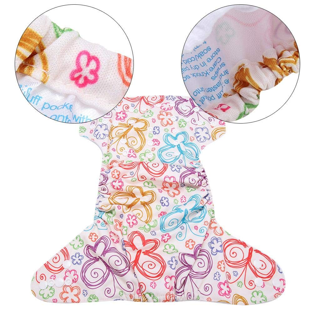 One Size Fit All Calico Swim Diaper Baby Infant Snap Absorbent Washable Swimsuit Diaper Reusable Swim Nappy for Baby Toddlers Swimming Lessons F