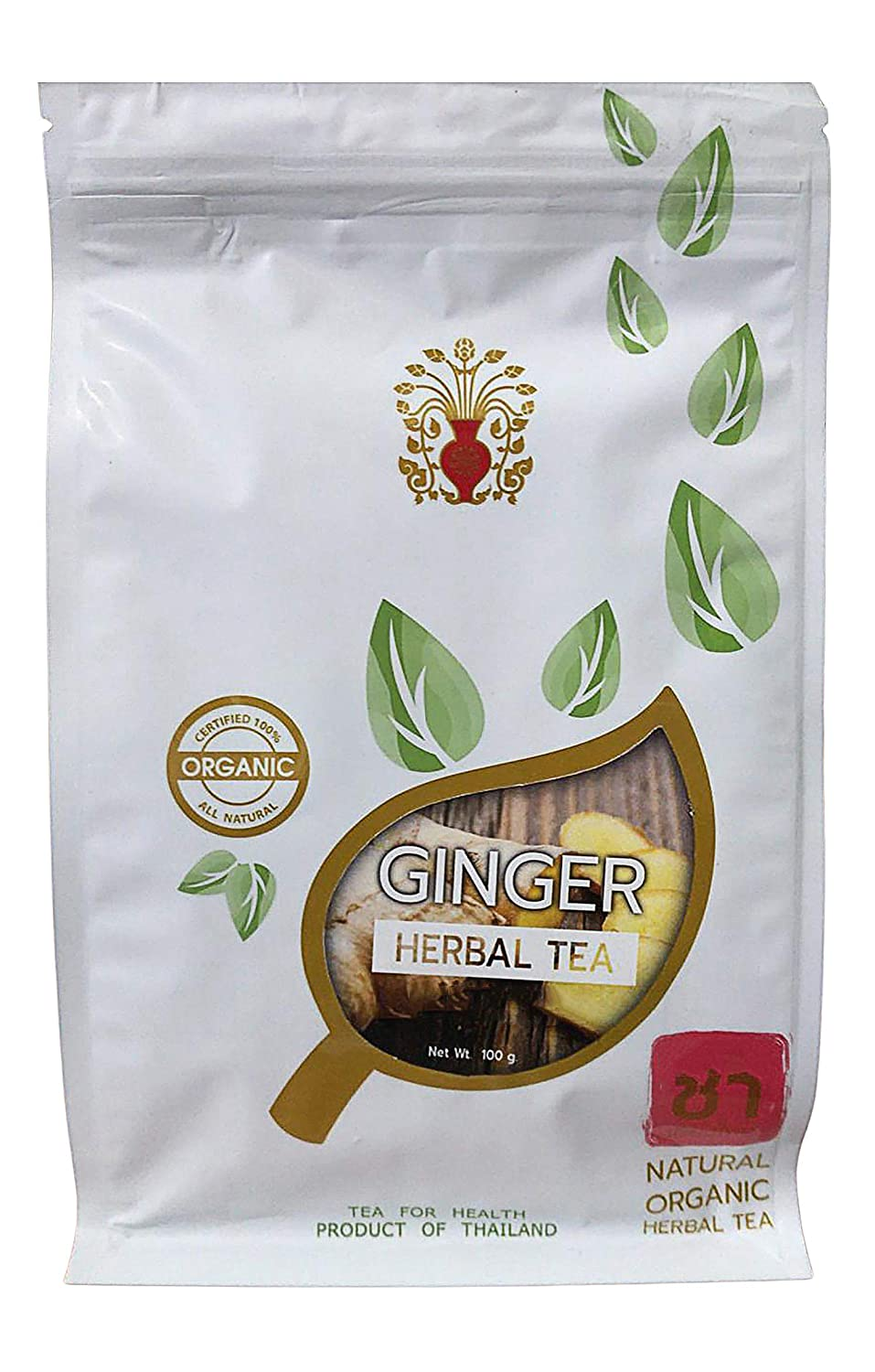 THAI Organic 100% Natural Ginger Tea 100 g. Root Ginger Herbal Tea, Promotes Healthy Digestion & Immunity, Caffeine Free, Ginger Tea From Thailand, High BENEFITS Food Ingredients for Hot & Iced tea