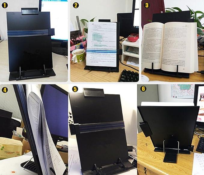 Desktop Copyholder supporto con linee guida e clip amovibile per scrivania Bianco Black colore