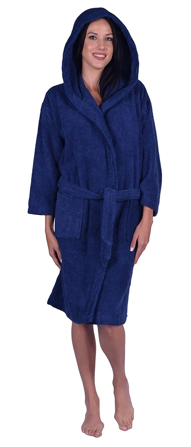 Teenagers Terry Hooded Unisex Robe, 100% Natural Soft Turkish Cotton, Made in Turkey Made in Turkey (Black)