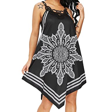 338b4a7ac7 Image Unavailable. Image not available for. Color: Womens Summer Strapless Boho  Print Sleeveless Mini Dress ...