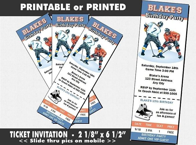 Hockey Players Birthday Party Ticket Invitation Printable Or Printed Option