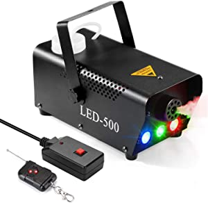 Fog Machine, AGPTEK 500W Portable Led Smoke Machine with Lights (Red, Blue, Green) & Wireless Remote Control for Halloween, Christmas, Wedding, Parties, DJ Performance & Stage Show