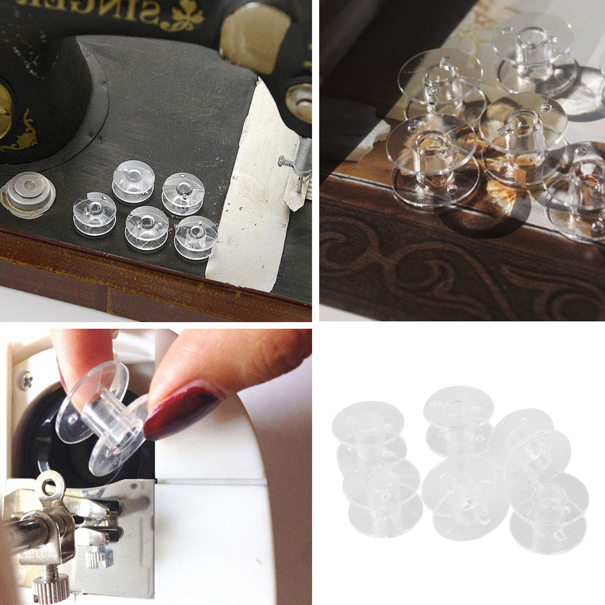 53 Pcs Plastic Sewing Machine Bobbins with Transparent Storage Case and Soft Measuring Tape by mifengdaer