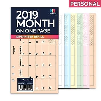 NBplanner® 2019 Mes en una página Planificador Filofax ...