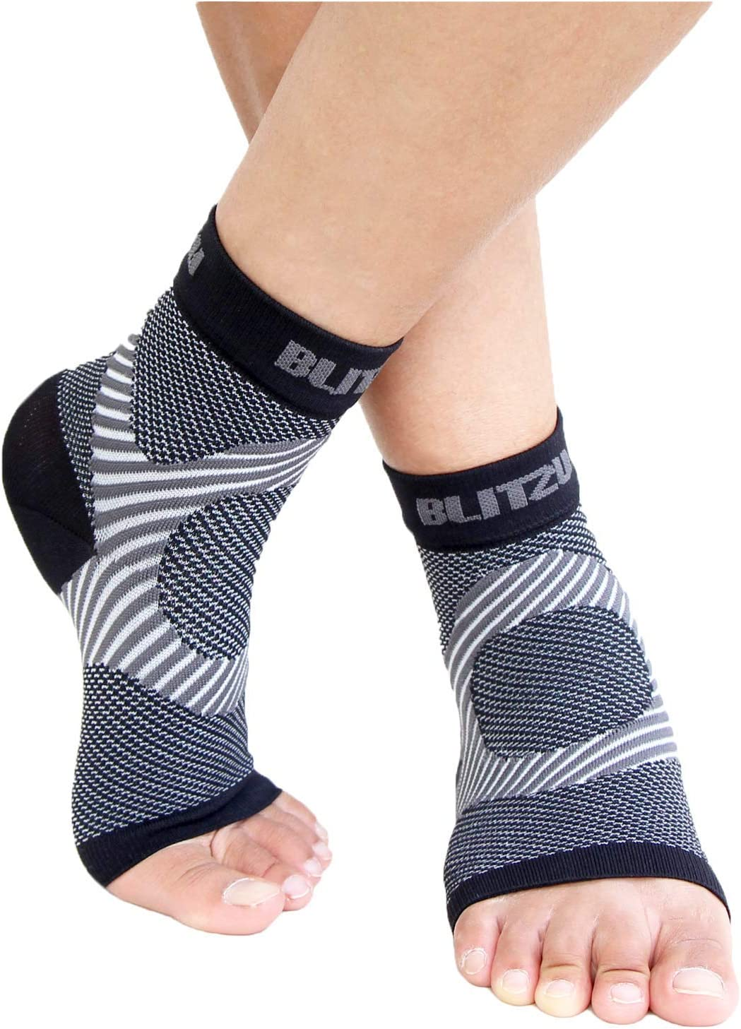 BLITZU Plantar Fasciitis Compression Socks For Women & Men - Best Ankle and Nano Sleeve For Everyday Use - Provides Foot & Arch Support. Heel Pain, and Achilles Tendonitis Relief. (Large/X-Large, Black): Health & Personal Care