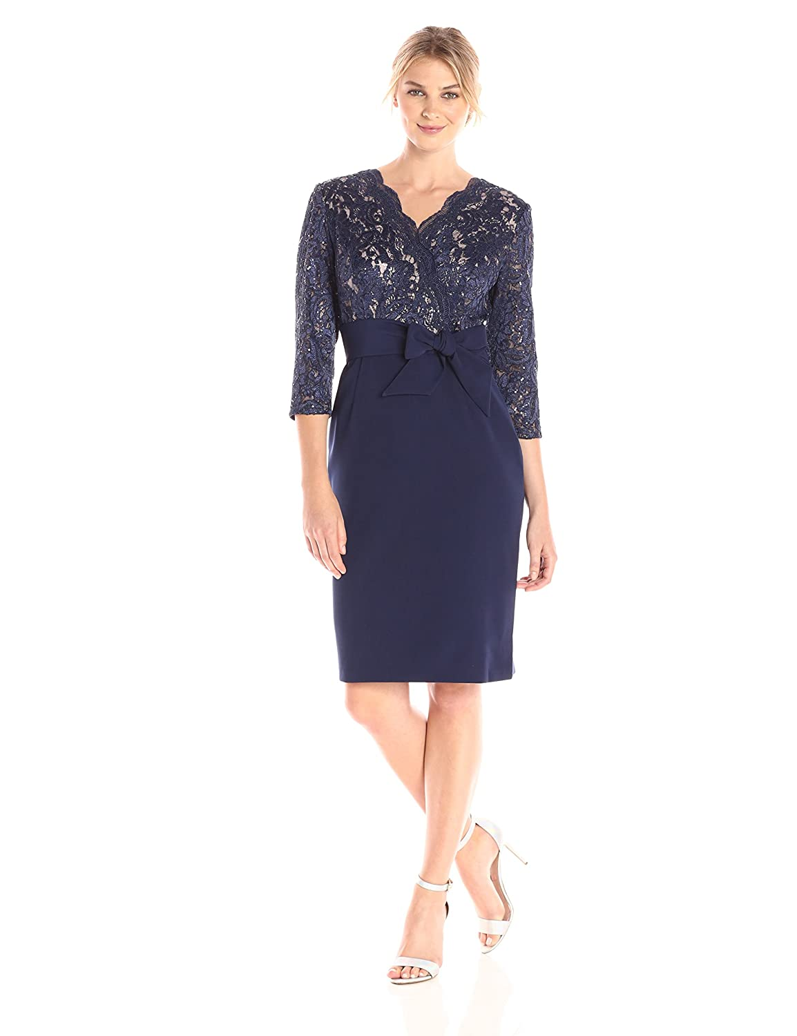 07a693cba4 Alex Evenings Women s Short Lace Bodice Dress with Bow (Petite and Regular  Sizes)