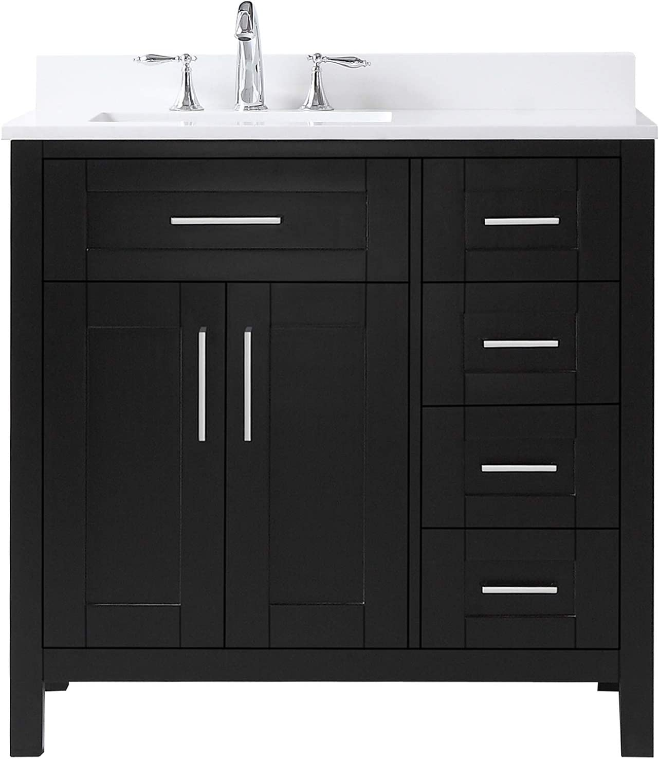 Ove Decors Maya 36 Set Bathroom Vanity Freestanding Cabinet, 36 inches, Espresso with White Cultured Marble Countertop