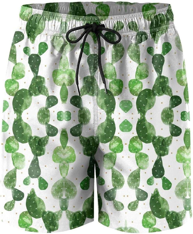Board Shorts Breathable Swimming Beach Shorts Finaif Men Cactus-Green-Plant