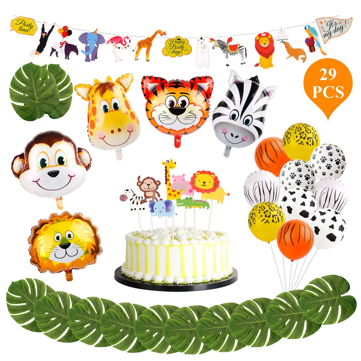 Animal balloon Safari Party Supplies - FengRise Jungle Theme Balloon Party Decoration Pack of 29, Jumbo Animal Head Balloons Latex Print Balloon and Safari Banner for Birthday Party/Theme Party.