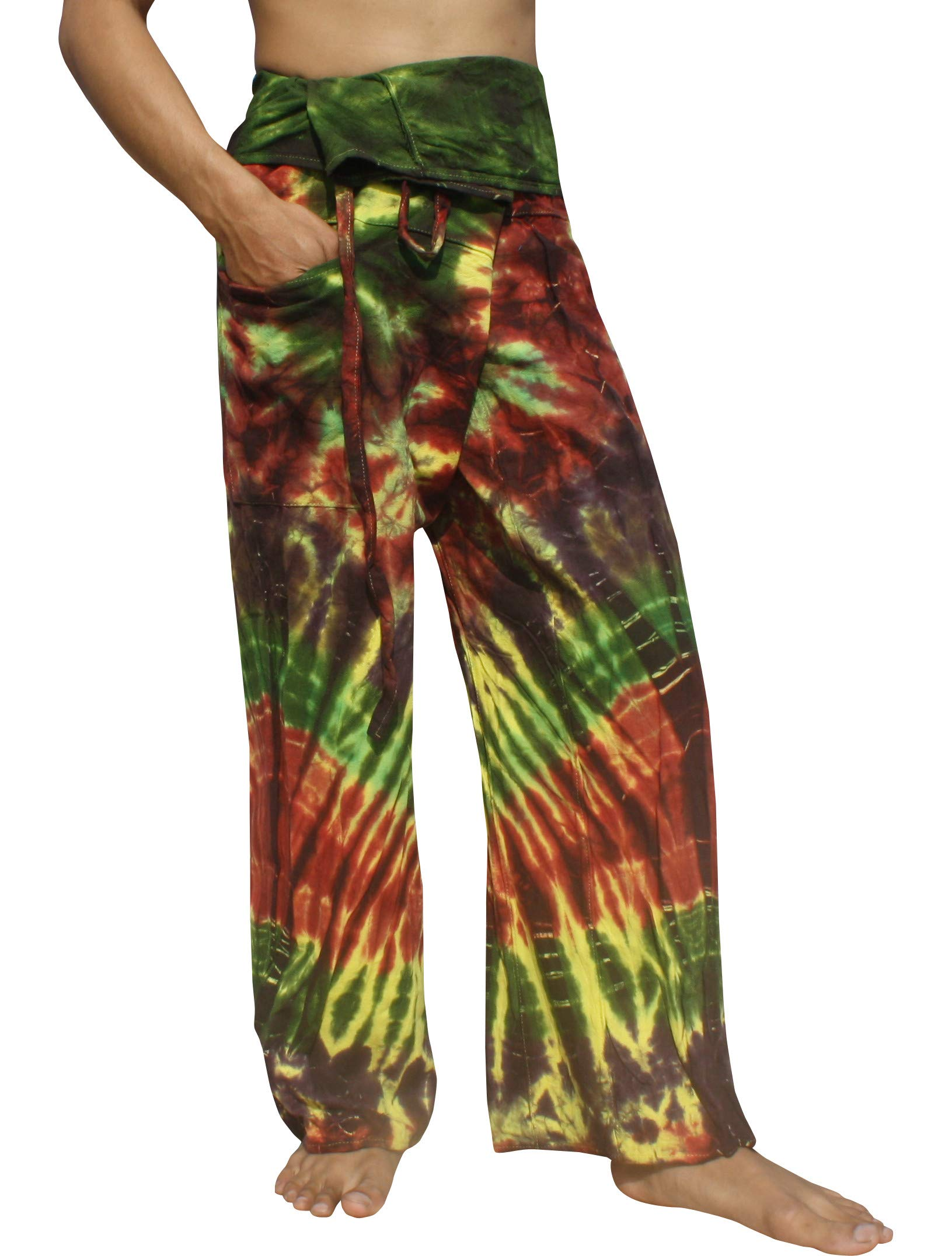 RaanPahMuang Thick Muang Cotton Thai Fishermans Pants Vibrant TieDyed Tie Dye, Small, Multi Green by Raan Pah Muang