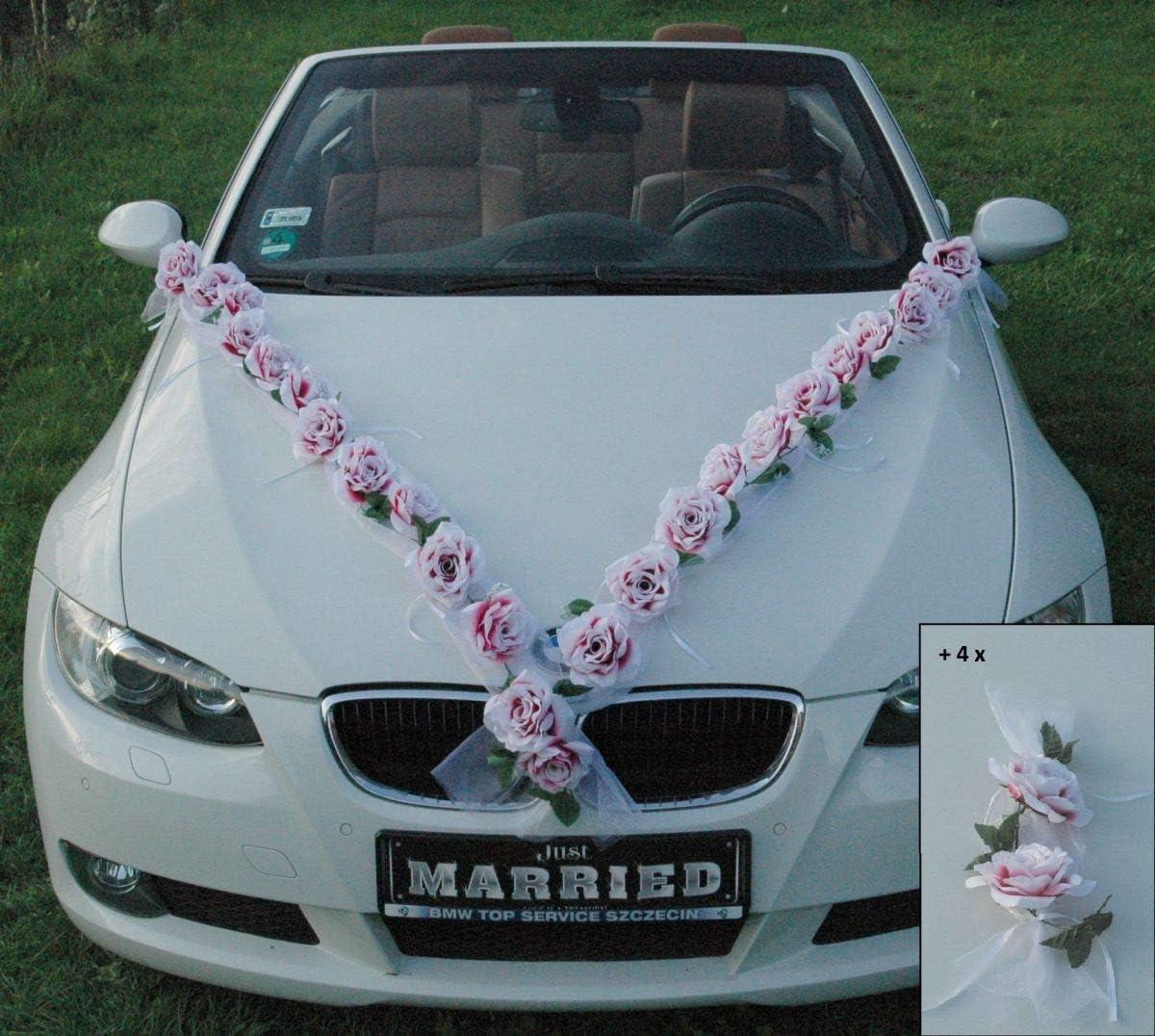 Pink//White Auto-schmuck Car Decoration Rose Garland Bride Couple Rose Decoration Wedding Car Wedding Decoration