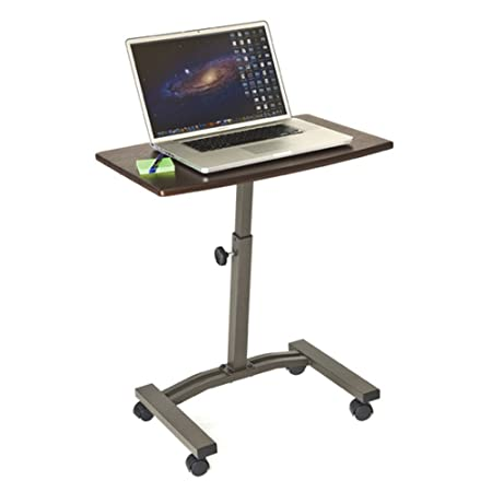 "Review Seville Classics Mobile Laptop Computer Desk Cart, Height-Adjustable from 20.5"" to 33"", Walnut"