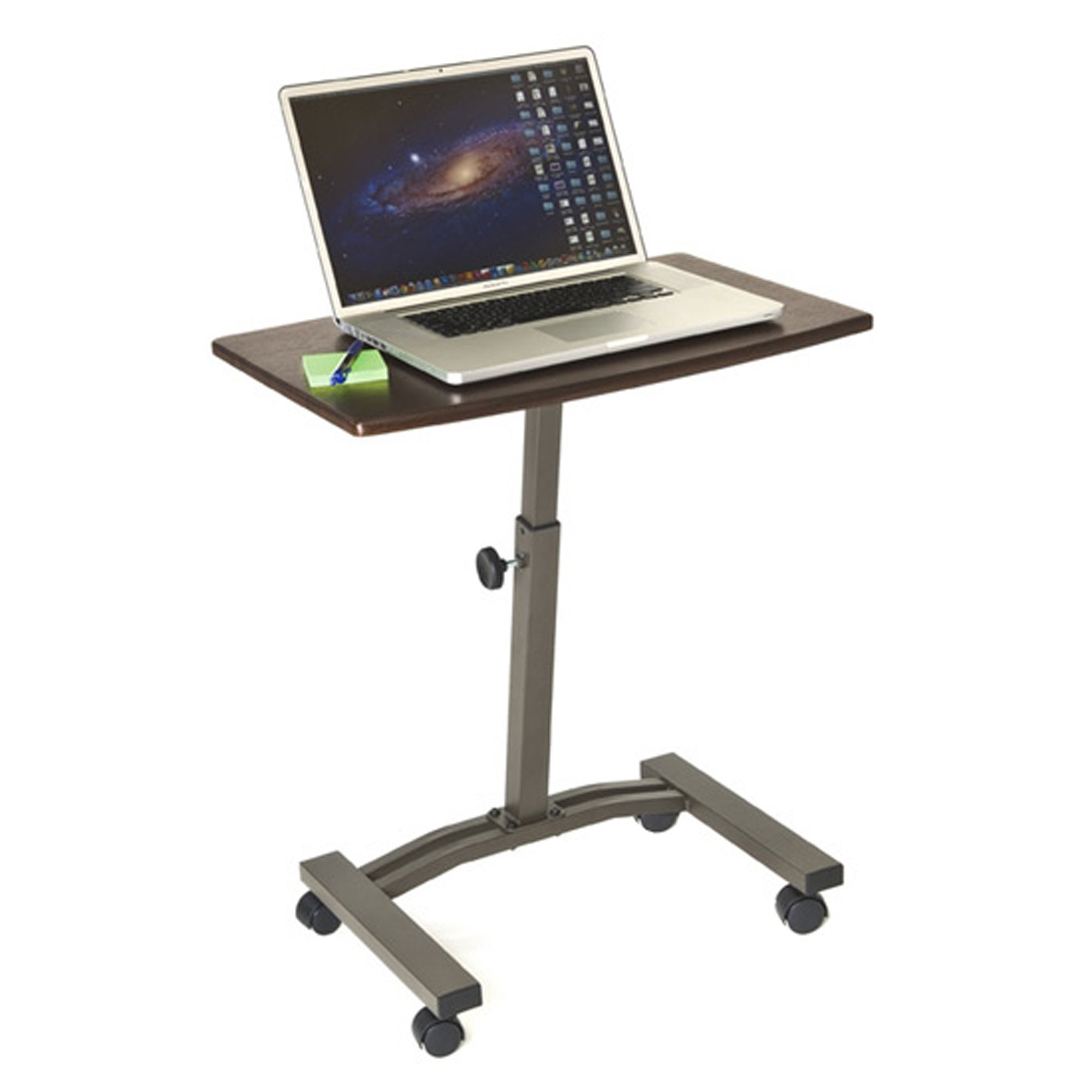 Seville Classics Mobile Laptop Computer Desk Cart, Height-Adjustable from 20.5'' to 33'', Walnut