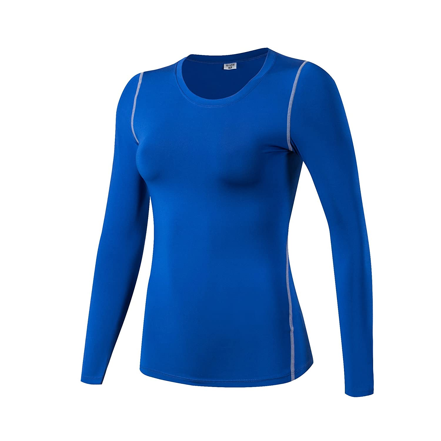 Barrageon Women's Elastic Compression Shirt T-shirt Top Base Layer Exercise Fitness Yoga Pilates Gym Cross Training Running Jogging Long Sleeve Quick Dry Suppresses Sweat Skin Fit Crewneck Thermal Sweatshirt Workout