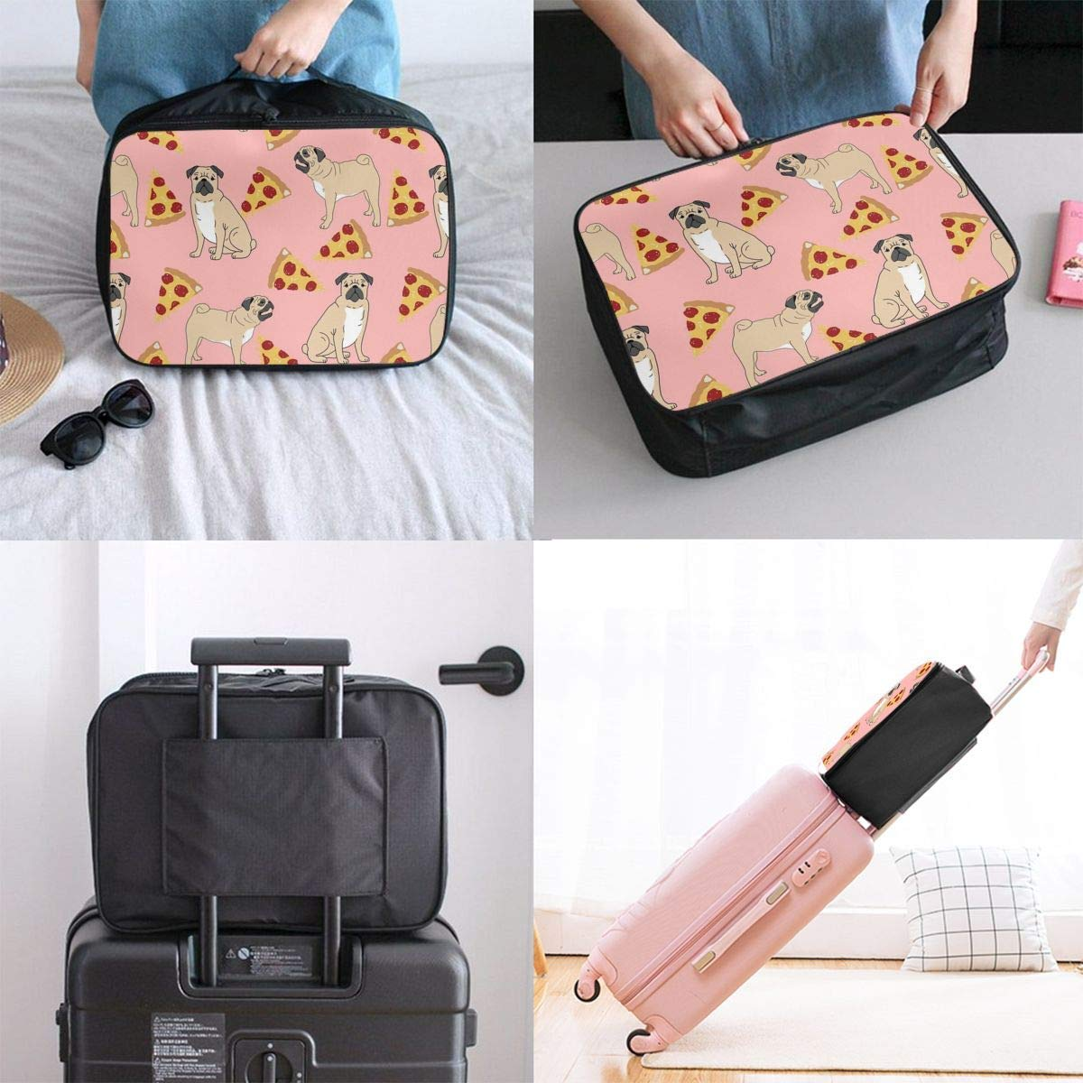 JTRVW Luggage Bags for Travel Pug Pizza Pink Travel Lightweight Waterproof Foldable Storage Carry Luggage Duffle Tote Bag