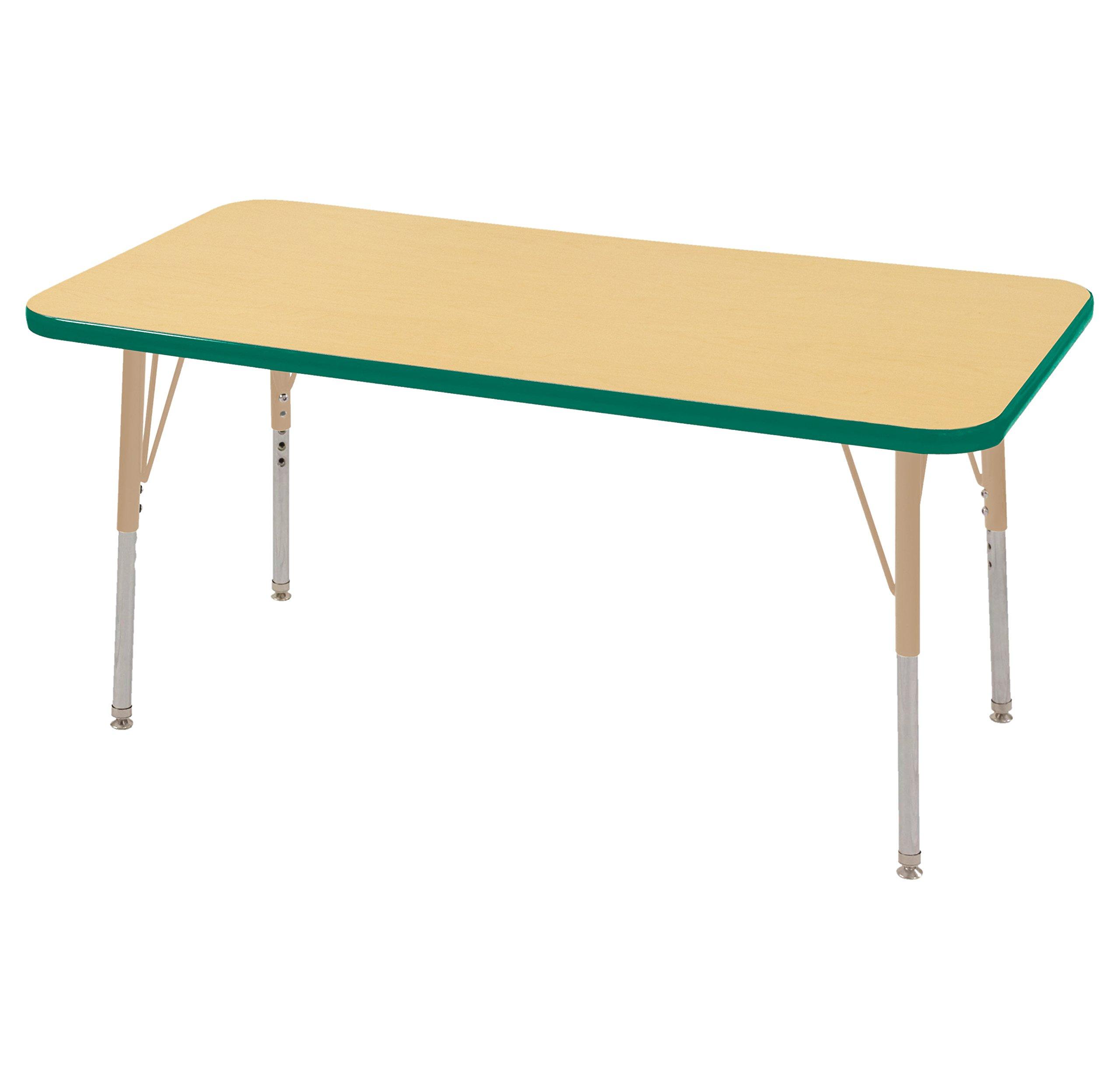 ECR4Kids Mesa T-Mold 24'' x 48'' Rectangular School Activity Table, Standard Legs w/ Swivel Glides, Adjustable Height 19-30 inch (Maple/Green/Sand)