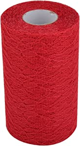 uxcell Lace Household Party Banquet Hall DIY Decor Tulle Spool Roll 6 Inch x 25 Yards Red