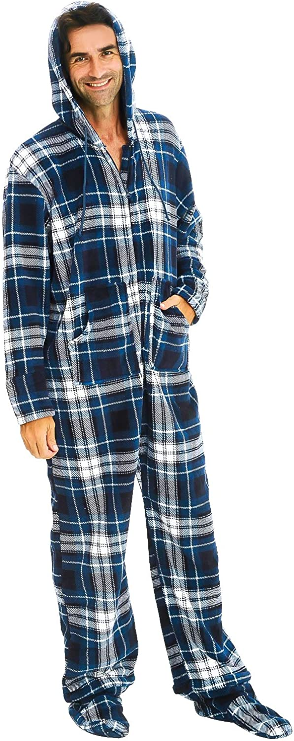 Adult Plaid Onesie with Hood Alexander Del Rossa Mens Warm Fleece One Piece Footed Pajamas