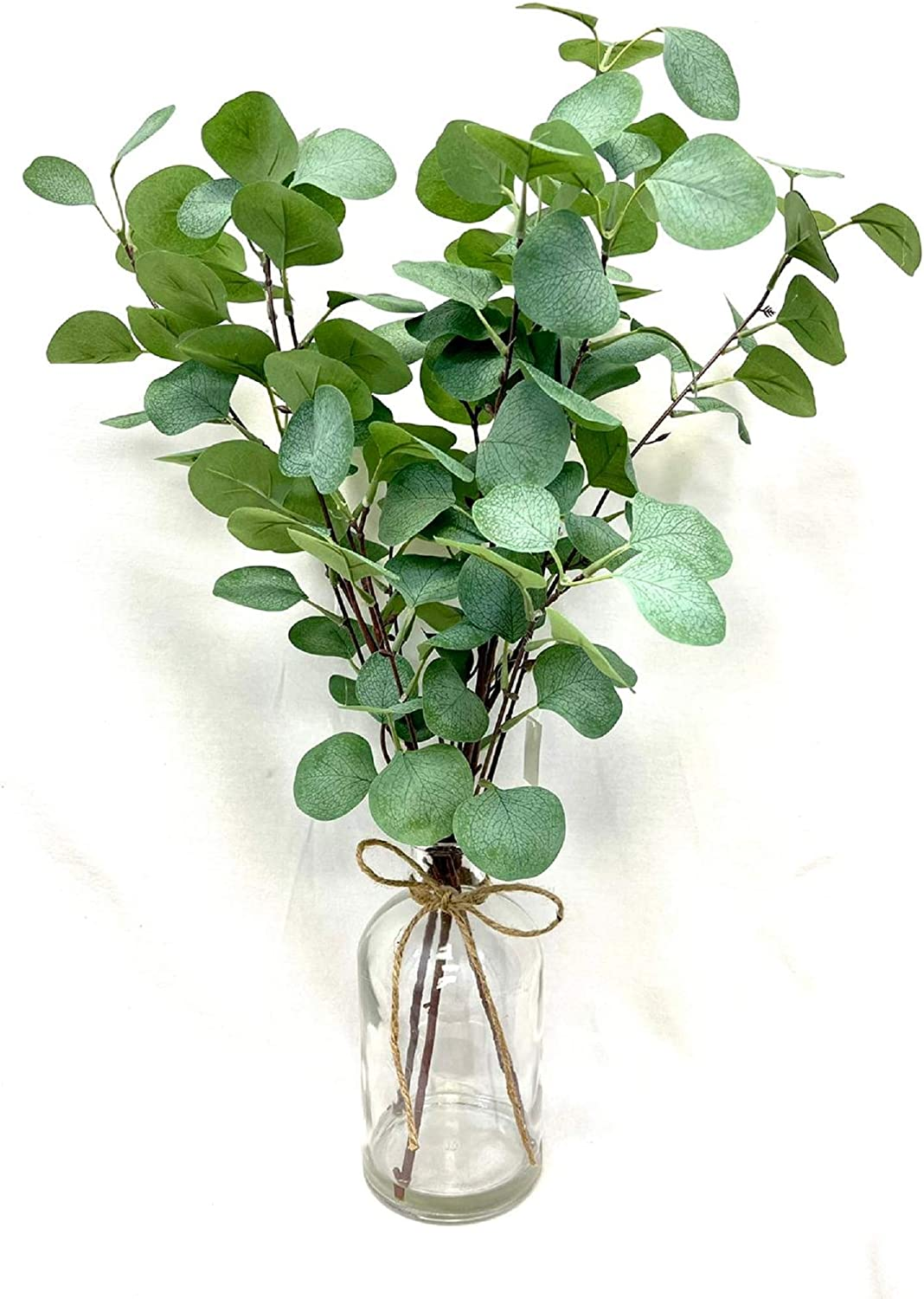 Faux Eucalyptus Leaves in Glass vase with Burlap for Home Shelf Office Wedding Tabletop Decor