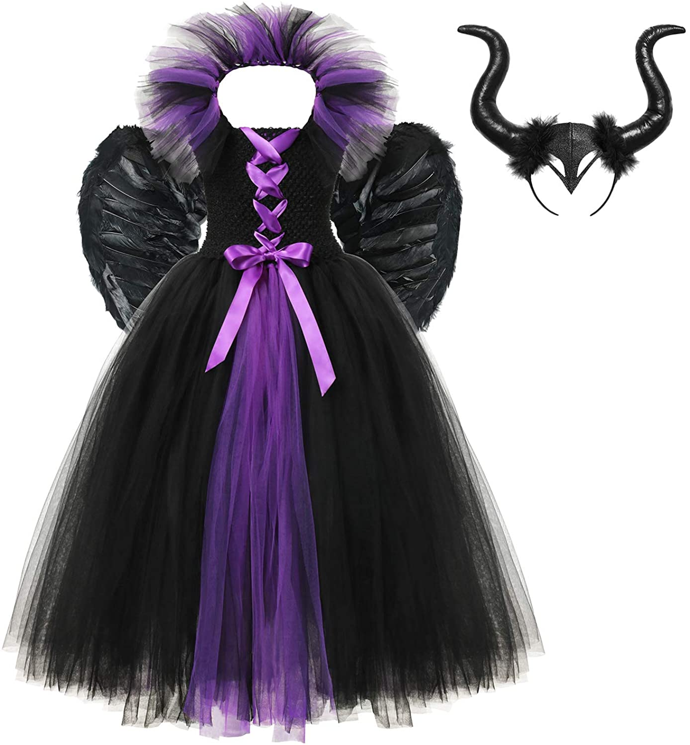 YOFEEL Little Girls Vampire Witch Costume Evil Queen Tutu Dress for Halloween Cosplay