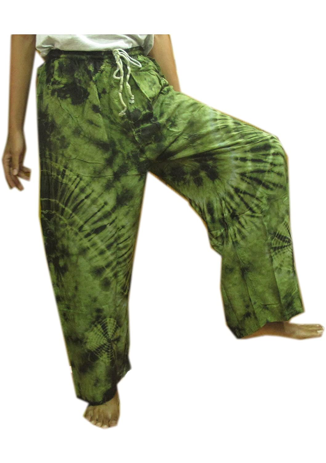 **UNIQUE BUY THIS ONE GET THIS ONE**GENUINE FINE COTTON RAYON TIE DYE FISHERMAN YOKA PANTS HIPPIE BAGGY TROUSERS FREE SIZE FIT FOR 25 - 39 INCHES ADJUSTABLE LENGTH 47 INCHES