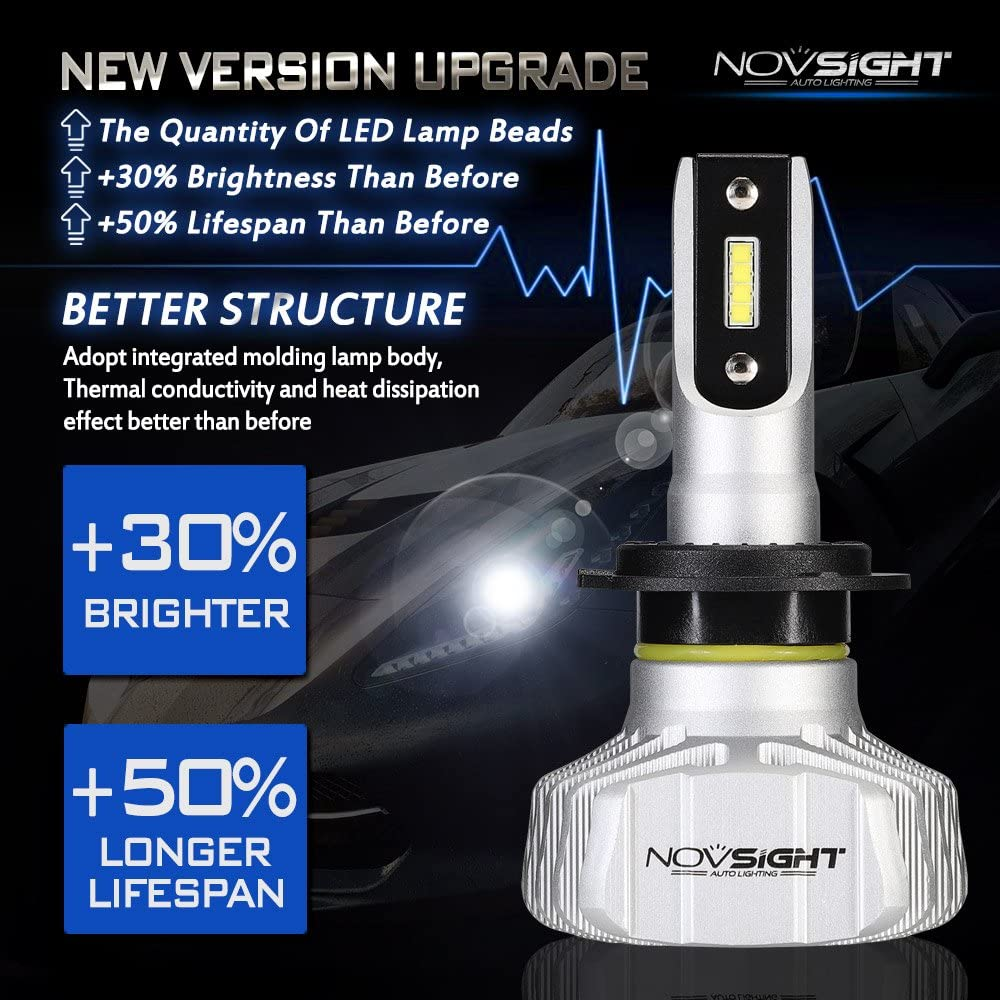 NOVSIGHT H4 LED Headlight Bulbs 50W 25W X2 10000LM 6500K CSP Head Lamps